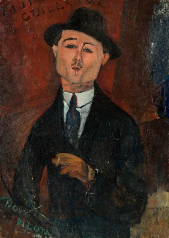 Paul Guillaume, Novo Pilota, Modigliani, 1915, Huile sur carton collé sur contre-plaqué parqueté, Musée de l'Orangerie, Paris
