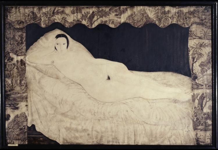 Nu couché à la toile de Jouy foujita 1917.jpg