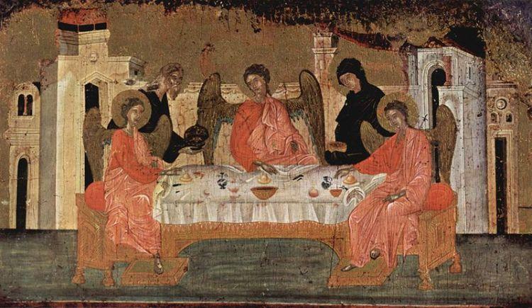 Visite des trois anges à Abraham, Maître de la trinité, XVIe siècle.jpg