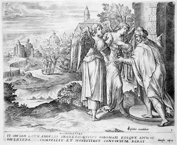 Hans I Collaert (Brussels, 1525:30-1580), Lot invites the Angels to stay with him overnight (New Holl. 22 ii:ii). Engraving after Frans Menton, late 1560s. Plate 1 of The Story of Lot (4 plates)
