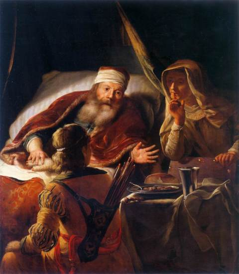 Isaac Blessing Jacob 1650-80 Oil on canvas, 125 x 108 cm Nationalmuseum, Stockholm.jpg
