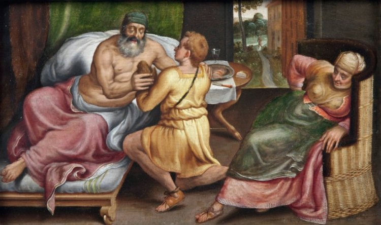 Jacob espèrant la bénédiction de son père Isaac Panneau, Frans Floris, XVIe siècle.jpg