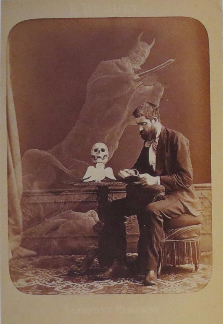 Jean Buguet, Photographie anti-spirite, Esprit de Paganini, épreuve sur papier albuminé, carte cabinet, 15 x 10,5 cm, fin juin 1875, Paris, BNF.