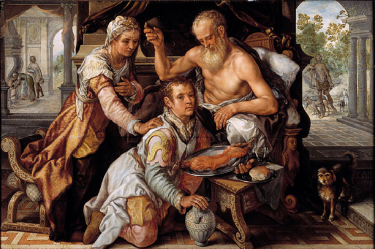 Joachim Beuckelaer, Isaac Blessing Jacob, monogrammed and dated 1568, panel, 112.3 x 170.8 cm. Utrecht, Museum Catharijneconvent.png