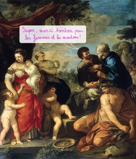 La réconciliation de Jacob et Laban, Ciro Ferri,2e moitié de XVIIe siècle, Collection particulière copie.jpg