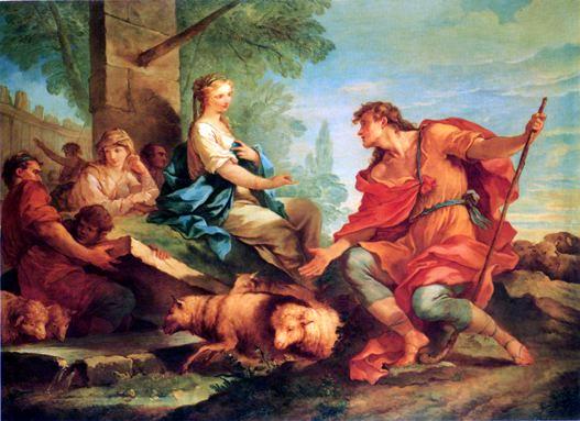 La Rencontre de Jacob et de Rachel au puits, Natoire, 1732, Colection privée