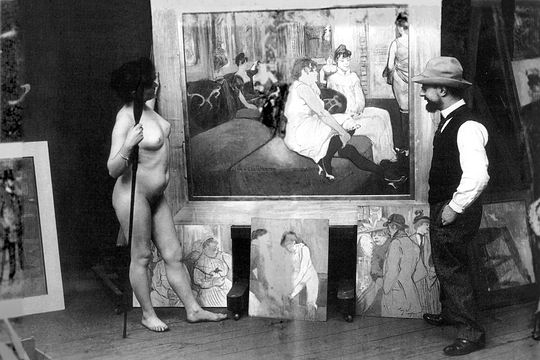 Toulouse-Lautrec_in_his_workshop_with_a_nude_model_(photo_by_Maurice_Guibert)